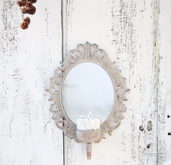 Bild von Wandspiegel oval mit Kerzenhalter