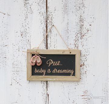 """Bild von Tafel """"Baby is dreaming"""" Girl"""