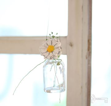 Bild von Minihängeväseli mit Betonblümchen